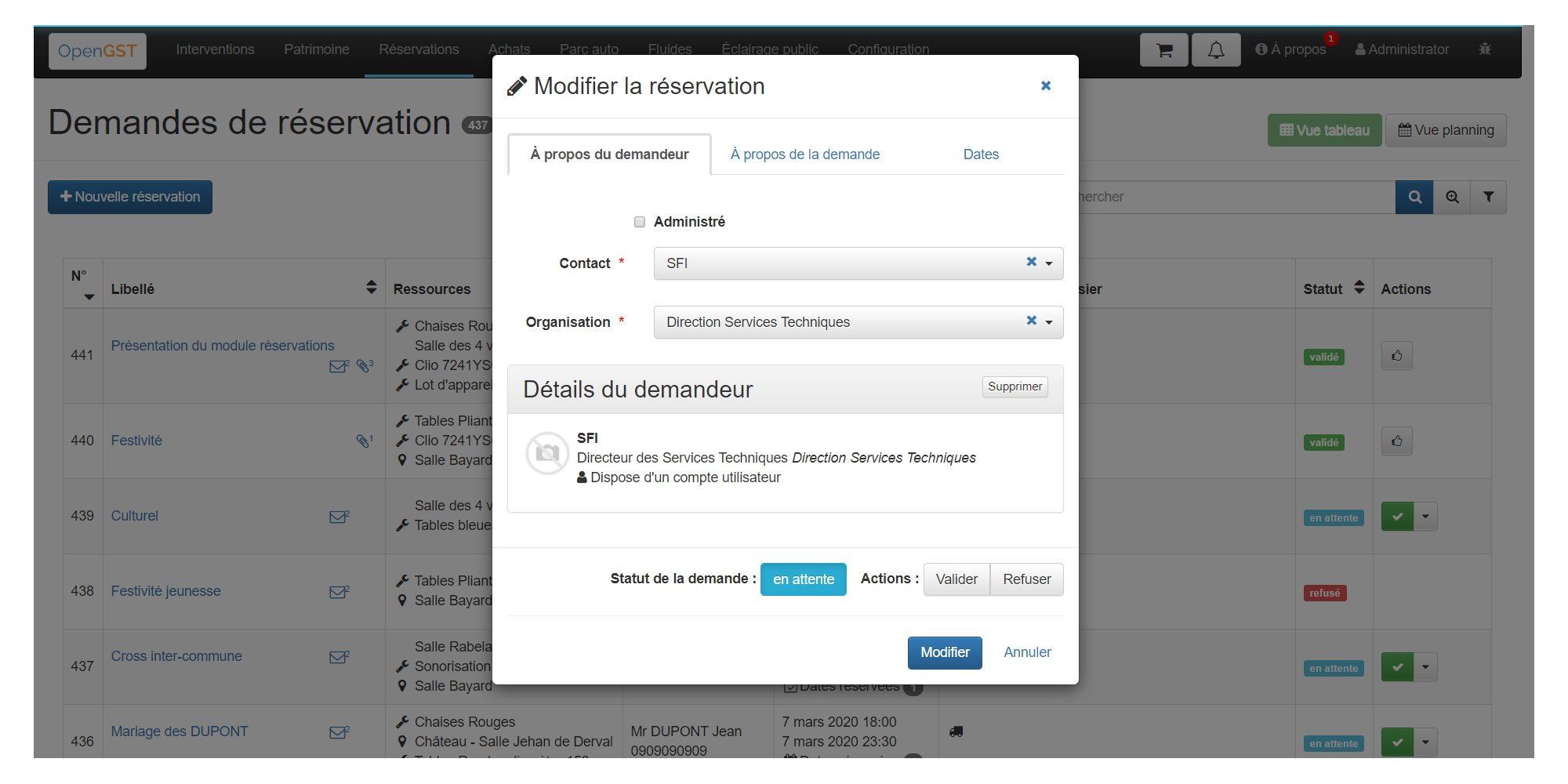 Demande de réservation OpenGST